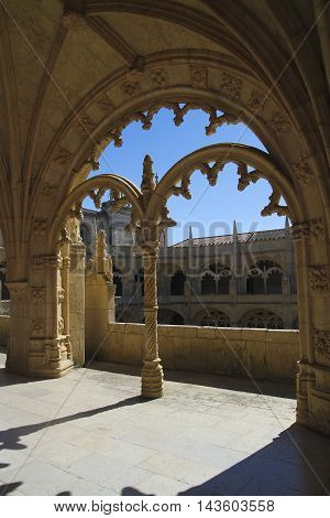 Detail of Monastery of Jeronimos Portugal in Lisbon