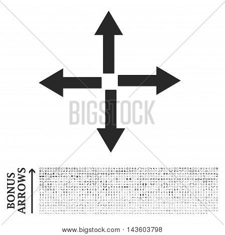 Expand Arrows icon with 1200 bonus arrow and direction pictograms. Vector illustration style is flat iconic symbols, gray color, white background.