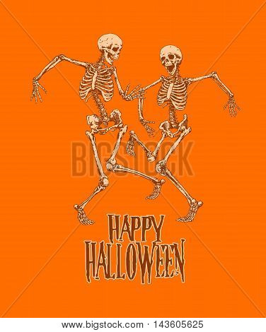 Dancing skeletons for halloween party celebration poster vector illustration; graphics