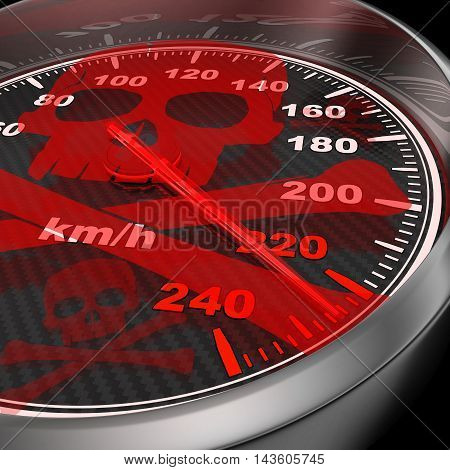 Car speedometer and red skull (done in 3d rendering)