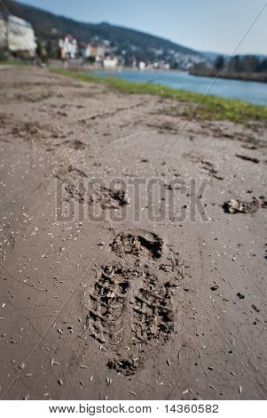 Footprints in a mud