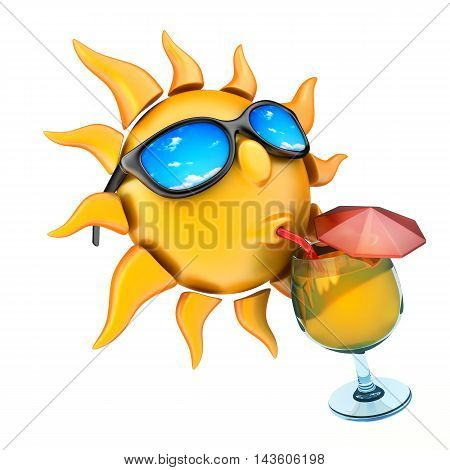 Sun drinking juice and glasses (done in 3d rendering)