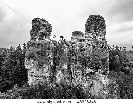 Sandstone cliff in Bohemian Paradise, or Cesky Raj, in Czech Republic. Black and white image.