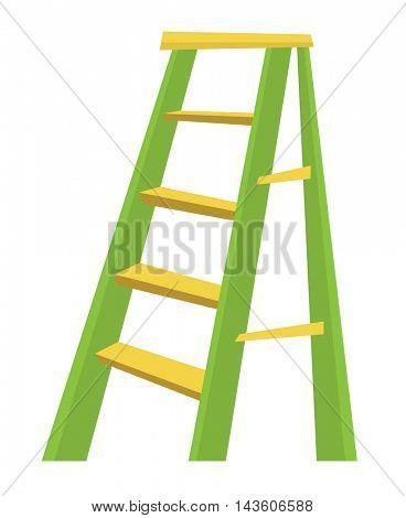 Metallic step ladder wheelbarrow full of sand vector flat design illustration isolated on white background.