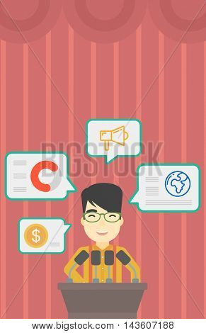 An asian speaker standing at podium with microphones at business conference. Speaker giving speech at podium and speech squares around him. Vector flat design illustration. Vertical layout.
