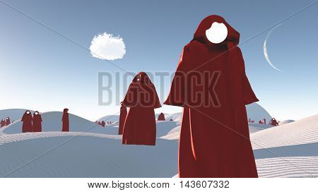 figures in red robes in the desert 3D Render