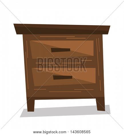 Brown bedside table vector flat design illustration isolated on white background.