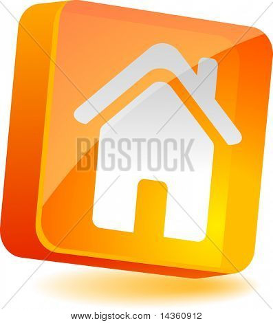 Home 3d icon. Vector illustration.