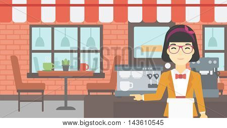An asian  young female barista sanding in front of coffee machine. Barista at coffee shop. Professional barista making a cup of coffee. Vector flat design illustration. Horizontal layout.