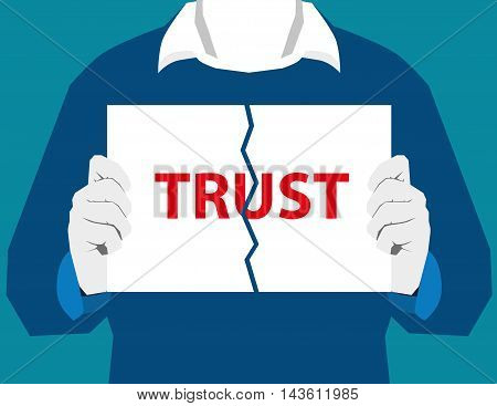 Destroy Trust. Separation Trust. Destroy Relationships. Relationship Difficulties. Vector Flat Illus
