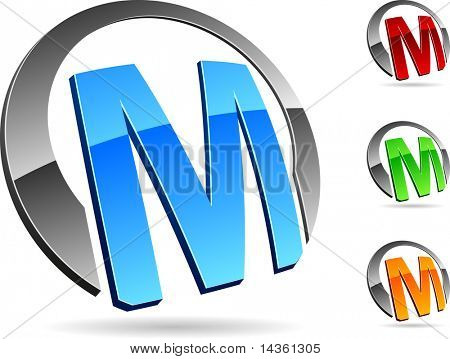 """Letter """"M""""  3d vector icons such logos."""