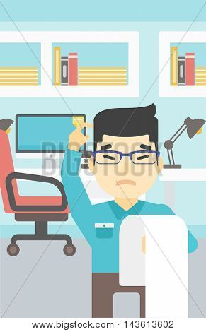 Young worried asian worried businessman standing in the office and holding a long bill. Concept of business bankruptcy. Vector flat design illustration. Vertical layout.
