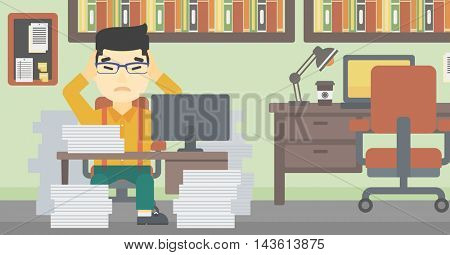 An asian young businessman in despair sitting at workplace with heaps of papers and clutching his head. Vector flat design illustration. Horizontal layout.