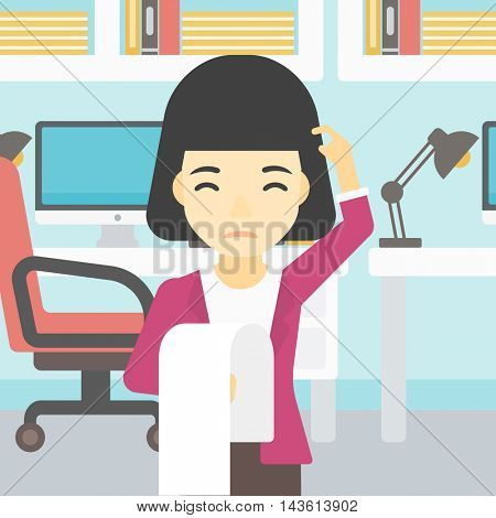 Young worried asian business woman standing in the office and holding a long bill. Concept of business bankruptcy. Vector flat design illustration. Square layout.