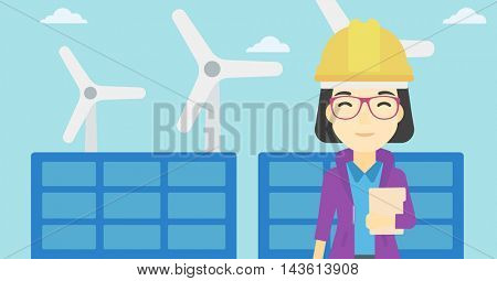 An asian worker of solar power plant and wind farm. Woman with folder on background of solar panel and wind turbine. Green energy concept. Vector flat design illustration. Horizontal layout.