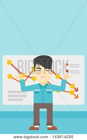 Stressed young asian businessman standing on the background of a board with decreasing chart. Concept of business bankruptcy. Vector flat design illustration. Vertical layout.