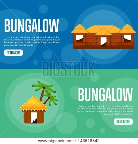 Bungalow vector illustration. Big bungalow on blue background. Water bungalow with palm trees on green background. Beach real estate. Summer vacation. Website template. Flat design banner