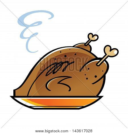 Roasted chicken or turkey on a golden plate