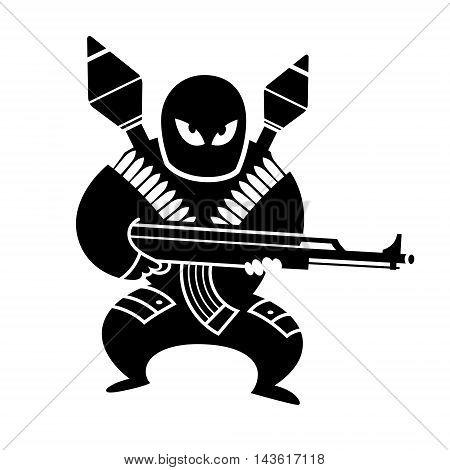 Islamic terrorist with a gun, vector illustration