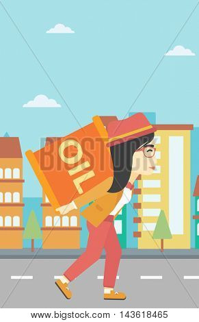 An asian woman carrying an oil barrel on his back. Woman with oil barrel walking on a city background. Woman with oil barrel on his back. Vector flat design illustration. Vertical layout.