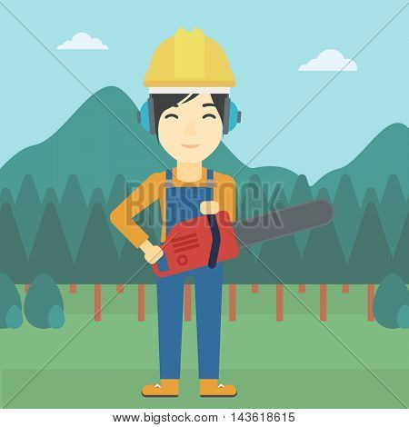 An asian female lumberjack in helmet holding a chainsaw on a forest background. Vector flat design illustration. Square layout.