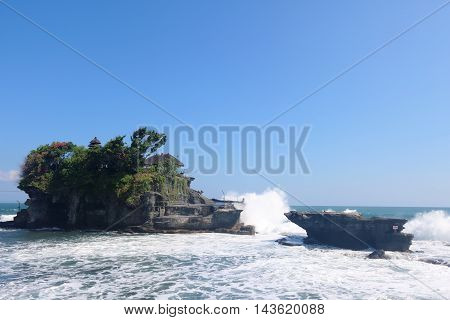 Tanah Lot temple a temple on an offshore rock in Bali Indonesia