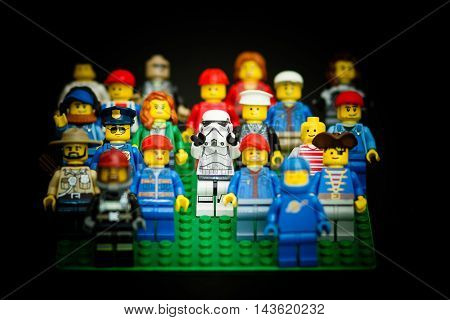 Orvieto Italy - February 08th 2016: Star Wars Lego Stormtroopers minifigures in a group of peoeple. Lego is a popular line of construction toys manufactured by the Lego Group
