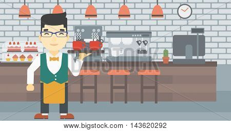 An asian young waiter holding a tray with cups of tea or coffee. Waiter with cups of coffee or tea at the bar. Vector flat design illustration. Horizontal layout.