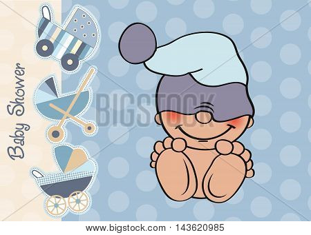 Baby Boy Shower Card With Funny Little Baby