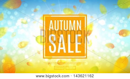 Autumn sale web banner. Shiny backdrop with seasonal special offer. Beautiful background with the falling leaves. Vector illustration.