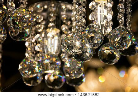 Close up Beautiful luxury Crystal Chandelier Lighting