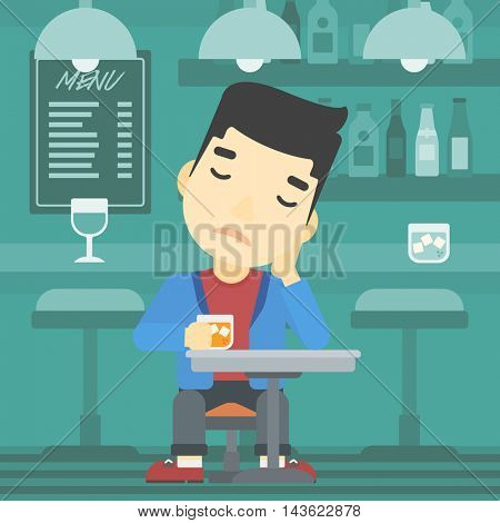 An asian sad man sitting at the bar with glass of alcoholic beverage. Young man sitting alone at the bar and drinking alcohol. Vector flat design illustration. Square layout.