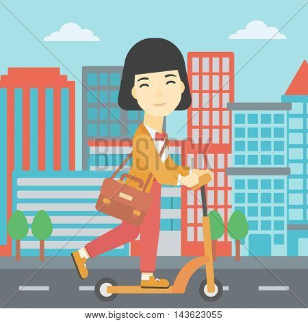An asian young woman riding a kick scooter. Business woman with briefcase riding to work on scooter. Woman on kick scooter in the city street. Vector flat design illustration. Square layout.