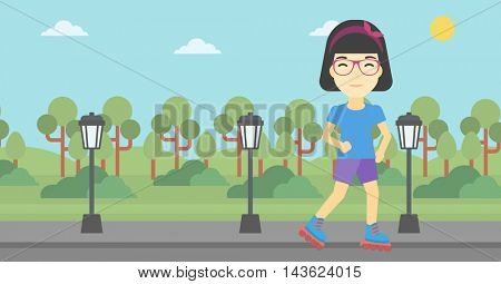 An asian young woman on roller-skates in the park. Full length of sports woman in protective sportwear on rollers skating outdoors. Vector flat design illustration. Horizontal layout