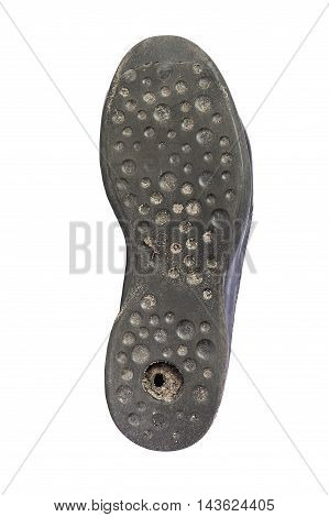 Used shoe insole on white background Rubber soles shoe
