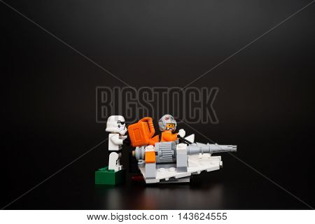 Orvieto Italy - January 12th 2015: Star Wars Lego minifigures of Pilot is rescued by Stormtrooper