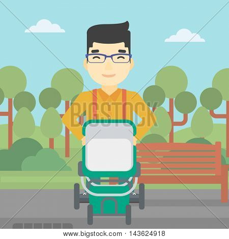 An asian young father walking with baby stroller in the park. Father walking with his baby in stroller. Father pushing baby stroller. Vector flat design illustration. Square layout.