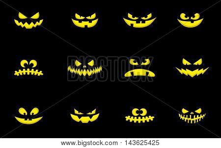 Set of design elements: halloween pumpkins scary face. Cartoon style. Vector illustration isolated on black background