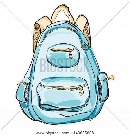 Hand drawn blue backpack. Vector illustration isolated on white. Rucksack, knapsack, haversack, satchel for travel, hiking, students, school. Watercolor style