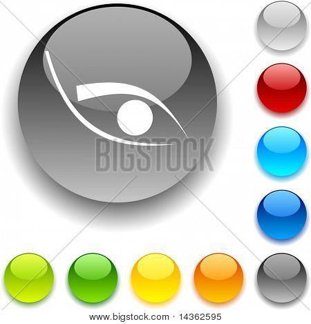 Eye shiny button. Vector illustration.