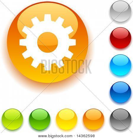 Gear shiny button. Vector illustration.