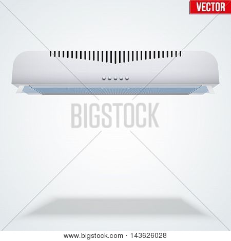 Kitchen range hood. Front view of Built in cooker hoods. Domestic equipment. Editable Vector illustration Isolated on white background.