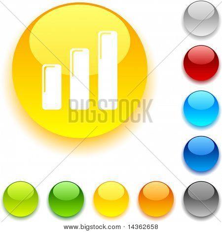 Graph  shiny button. Vector illustration.