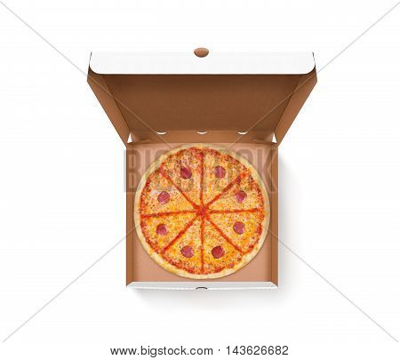 Opened pizza box with tasty pizza design mock up top view isolated. Carton packaging food box delivery clear mockup. Cardboard meal box template. Open food brown box presentation. Pizzeria box.