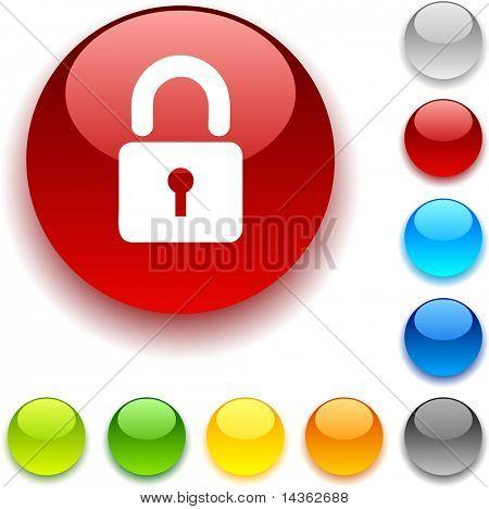 Padlock  shiny button. Vector illustration.