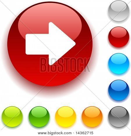 Arrow shiny button. Vector illustration.