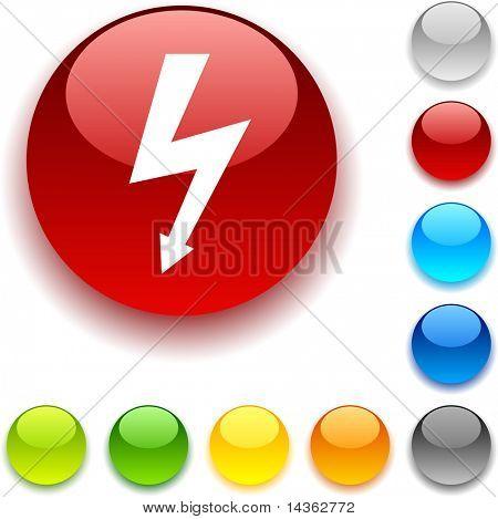 warning shiny button. Vector illustration.