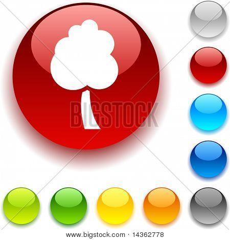 tree shiny button. Vector illustration.