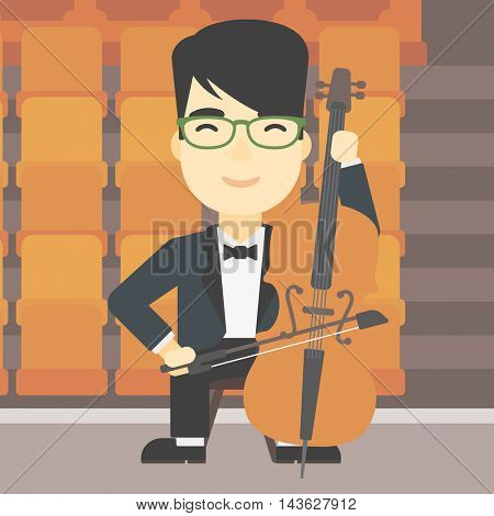 An asian young man playing cello. Cellist playing classical music on cello. Young man with cello and bow on the background of empty theater seats. Vector flat design illustration. Square layout.