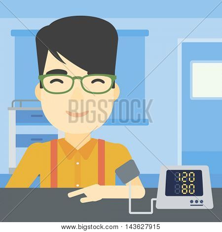 An asian man checking his blood pressure with digital blood pressure meter. Man taking care of his health and measuring blood pressure in hospital room. Vector flat design illustration. Square layout.